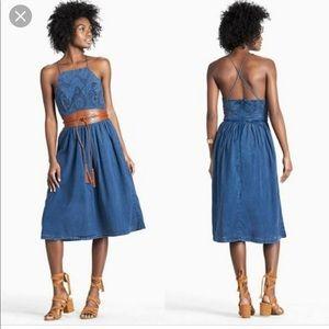 Lucky Schiffly Bib Dress Cotton Halter Dress NWT